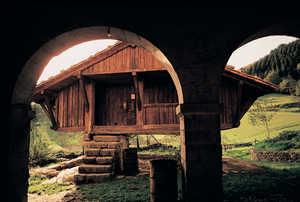 127. Los arcos de Agarre (Bergara) son un añadido tardio al conjunto del viejo caserio y su horreo.