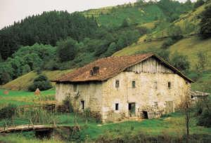 128. Zubin (Amezketa) es un caserio de reducidas dimensiones y modesta factura, rehecho a principios del siglo XIX. Su estructura descansa en tres momumentales postes de roble que se alzan en el interior.