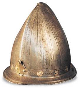 22.Casco militar del tipo utilizado por los infantes y arcabuceros guipuzcoanos a principios del siglo XVII.