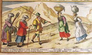 31.La escena grabada por Georgio Housnaglio en 1567 muestra como vestian los labradores vascos de la epoca. A la izquierda dos mujeres casadas y un hombre caminan hacia Vitoria; ellas llevan lana hilada o en mechones para vender en el mercado y se cubren la cabeza con voluminosos tocados cuyas complicadas formas variaban de un pueblo a otro. El varon, que va armado de pica y ballesta, viste calzas, camisa y un jubon de mangas abullonadas. Las dos jovenes que se cruzan por el camino vuelven del rio, cargando sobre sus cabezas la colada de ropa blanca de lino en un cesto hemiesferico y una primitiva pedarra llena de agua; ambas son doncellas y por eso lucen el cabello al descubierto.