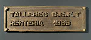 112. A manufacturer's plaque.