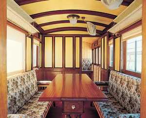 39. The inside of a lounge carriage from the Vasco-Navarro Railway.