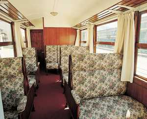 62. The inside of a 1st class carriage from the Urola Railway.