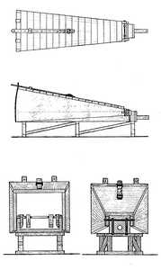 "63. Plan, elevation and section of the bench-bellows reconstructed in the Agorregi forge, Aia. From ""Tratado de Metalurgia"" (a Treatise on Metallurgy)"