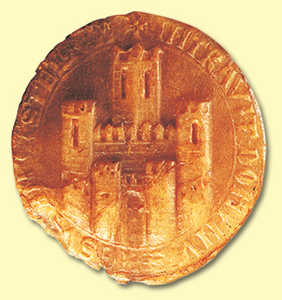 15. Seal of San Sebastian (c. 13). It shows a battlement fortification, with towers at either end, a barbican at the entrance and a heraldic tower. It is probably a generic representation of a castle and not necessarily the one built on Mount Urgull.© Xabi Otero