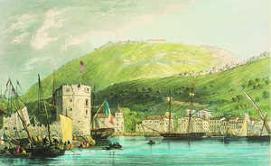 19. View of Passages port and Fort Hay. Print by Day & Haghe based on a drawing by T L. Hornbrook. London 1837. The Pasaia tower can be seen in the foreground. The Lord John Hay fort was built on the hill during the First Carlist War.© Gorka Agirre