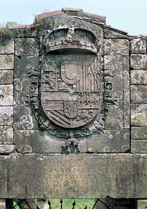 40. St. Elmo's Castle. Coat of arms and inscription over the second gate.© Gorka Agirre