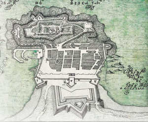 58. Plan of San Sebastian drawn in 1724 by Juan de Landaeta. In this project, the fortifications on Mount Urgull are arranged in three concentric areas overlooked by Holy Cross Castle.© Carlos Mengs