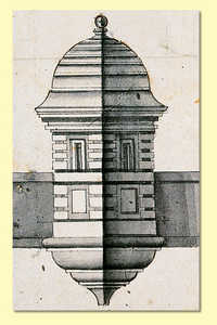 60. Drawing of the sentry box on the Governor's Bastion in San Sebastian (1735).© Hergara S.A.