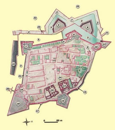 63. The fortifications of Hondarribia in the eighteenth century:1-Queen's Bastion; 2-Covered way; 3-Fosse; 4-St. Nicholas' Gate; 5-St. Nicholas' Demilune; 6-Leiba Bastion; 7-Parade square in the covered way; 8-Guevara Demilune; 9-Powder magazine; 10-St. Mary Magdalene Turret; 11-Exit from the covered way to the glacis; 12-Medina Bastion; 13-Old Ammunition Tower; 14-Palace of Charles V; 15-St. James' Bastion; 16-Parish church; 17-Bamba Turret; 18-St. Philip's Bastion; 19-St. Mary's Gate; 20-St. Philip's Gate; 21-Wall; 22-Glacis; 23-Traverse of the covered way; 24- Parade square.© Juan Antonio Sáez
